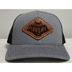 PlowLife Hat-Grey/Leather Snapback Style