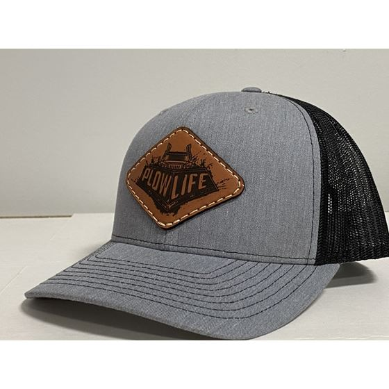 PlowLife Hat-Grey/Leather Snapback Style-1